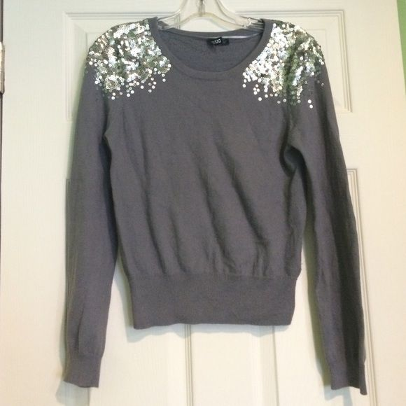 H&M Silver Sequin Embellished Grey Sweater | Silver sequin ...
