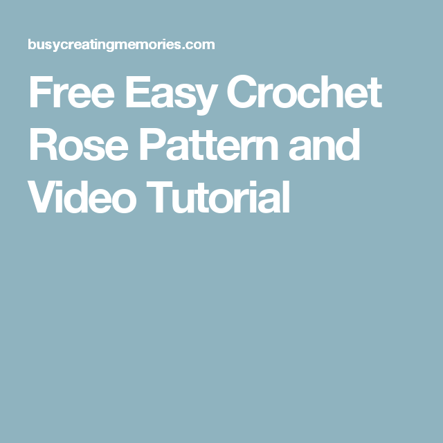 Free Easy Crochet Rose Pattern | Easy crochet, Crochet and Crochet ...