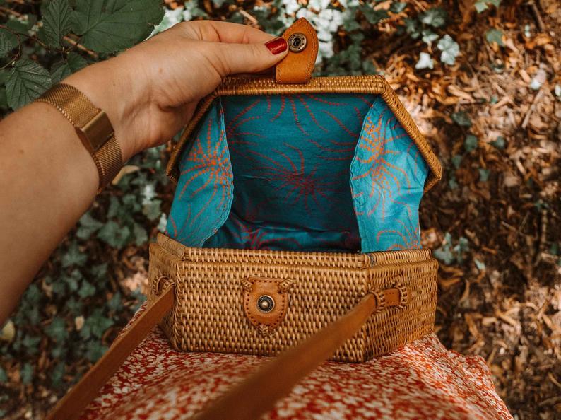 Straw Bali Bag Hexagon Wicker Wicker Purse Rattan Shoulder | Etsy