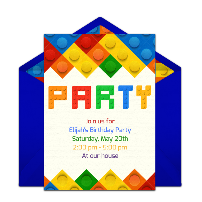 Customizable Brick Party Online Invitations Easy To Personalize And Send For A Birthday Punchbowl