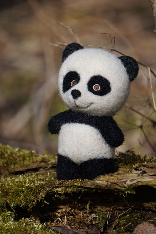 medium resolution of needle felted panda needle felted animal miniature panda panda toy cute panda soft toy wool felting lovely panda home decoration by