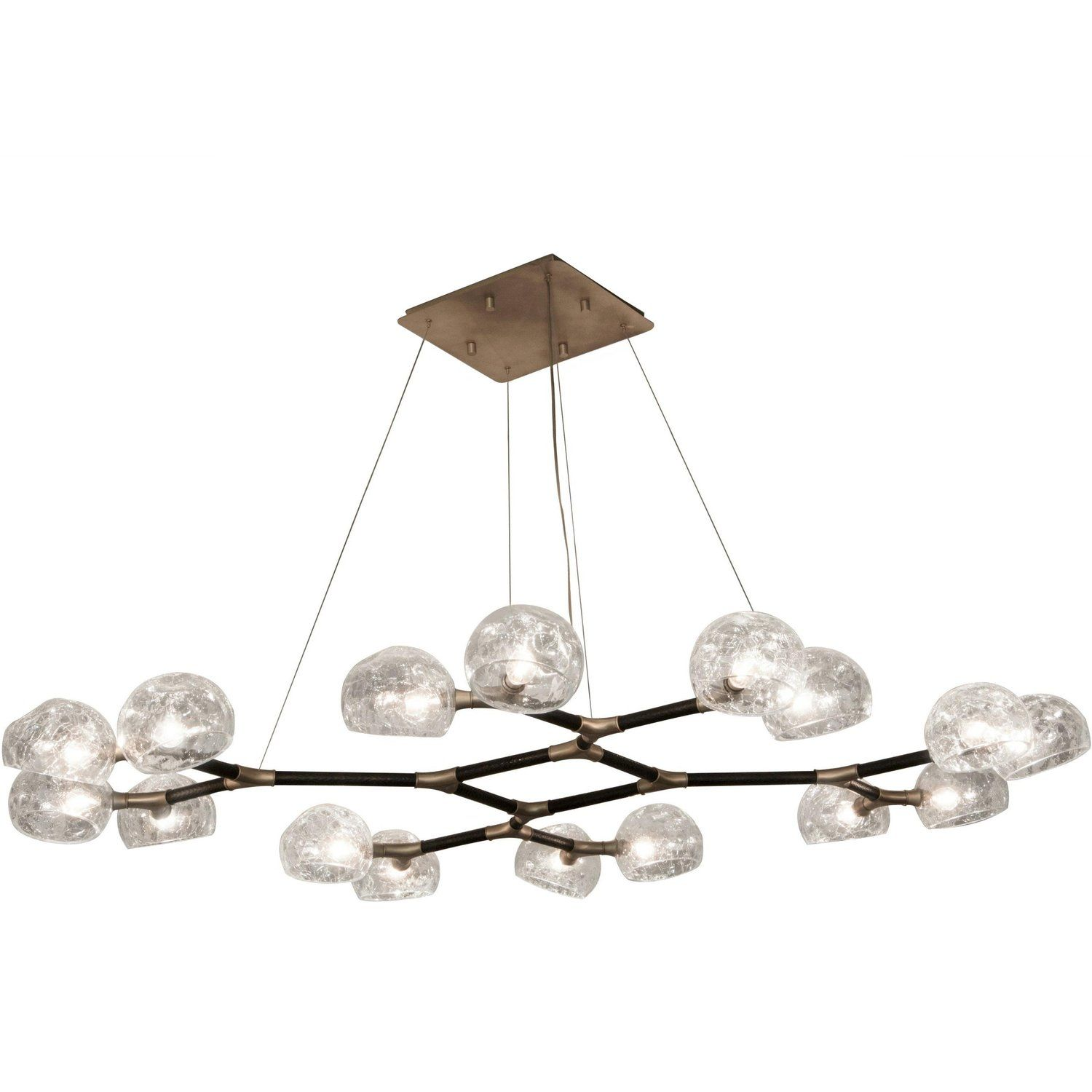 Horus Ii Suspension Light In Matte Brass With Crackle Glass Shade Glass Shades Contemporary Ceiling Light Round Pendant Light