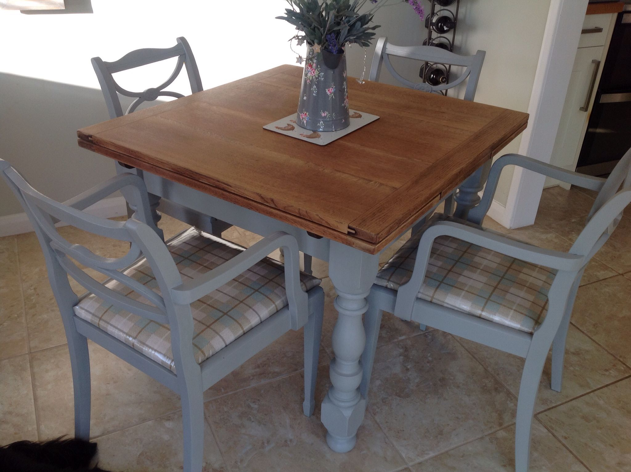 Vintage Oak Table And Reproduction Regency Chairs Make Over With Annie Sloan Chalk Paint Oak Table Furniture Dining Table