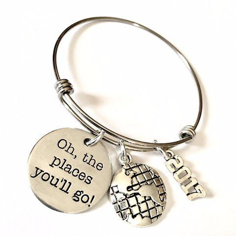 2017 Graduation Gift, Oh the Places You'll Go, Globe Bangle Bracelet