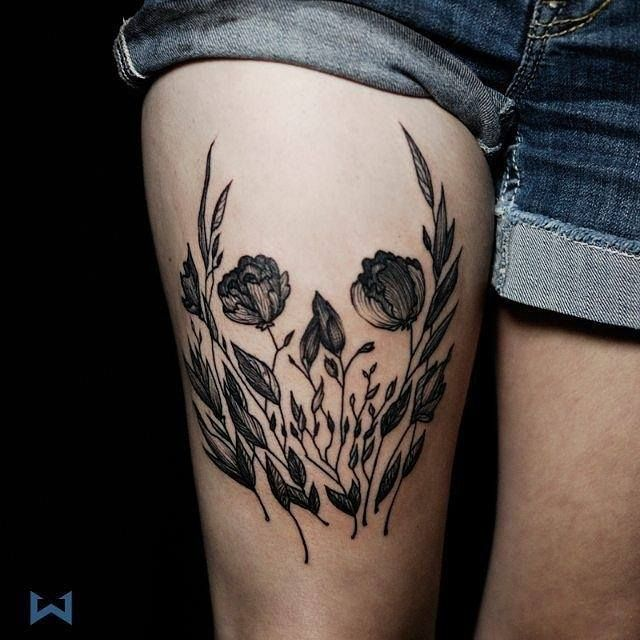 Think, what Flower skull thigh tattoo with