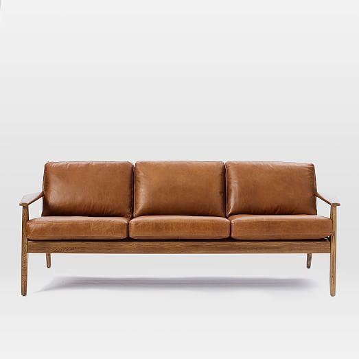 Mathias Mid Century Wood Frame Leather Sofa 82 5 Amp Quot Mid Century Leather Sofa Sofa Wood Frame Wood Frame Couch