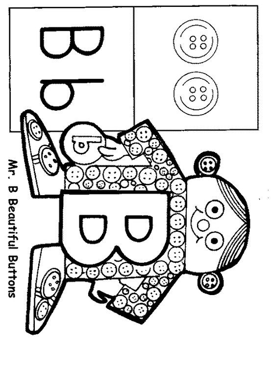 Mr B Beautiful Buttons Letter People People Coloring Pages