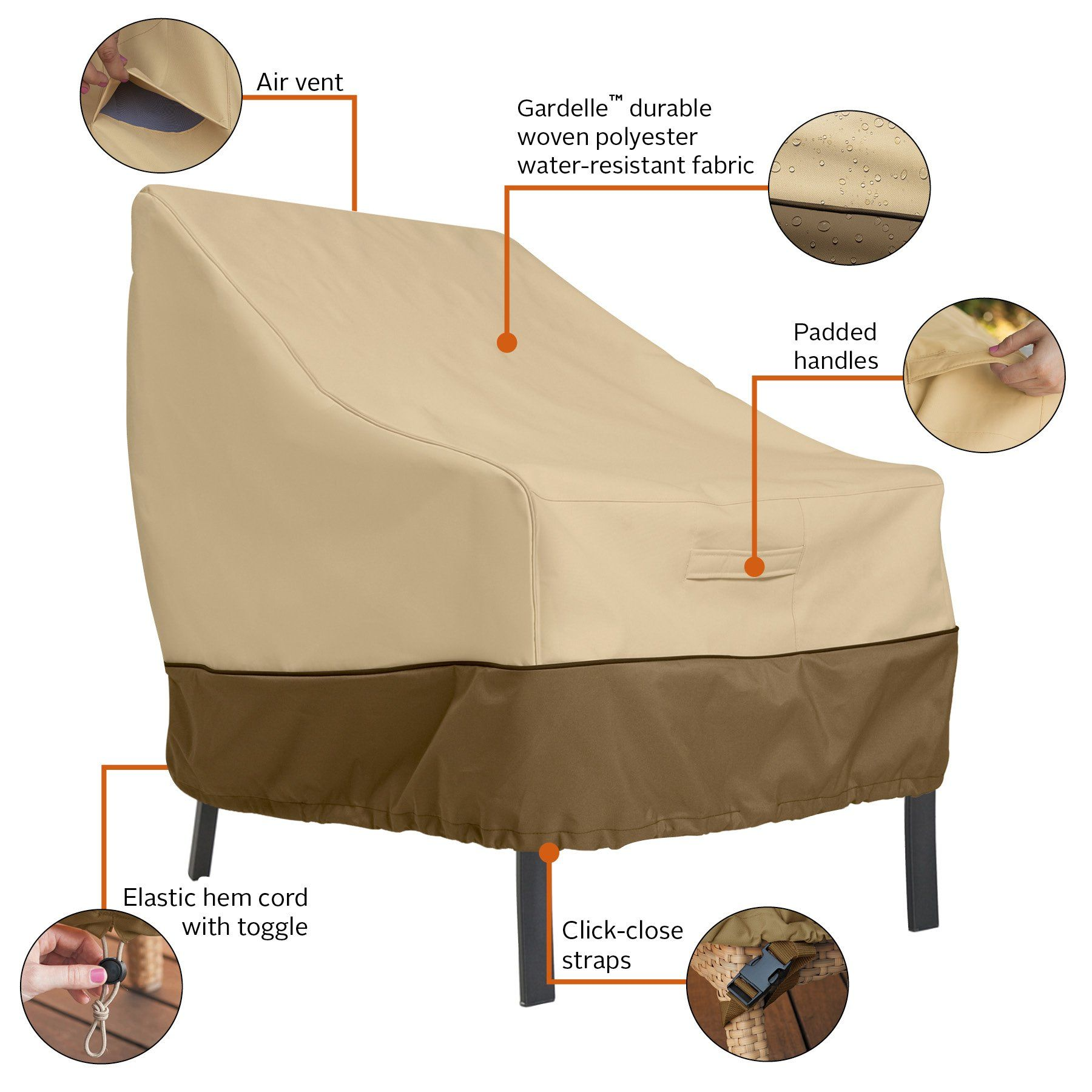 Clic Accessories Veranda Patio Lounge Chair Club Cover Durable And Water Resistant Outdoor Furniture