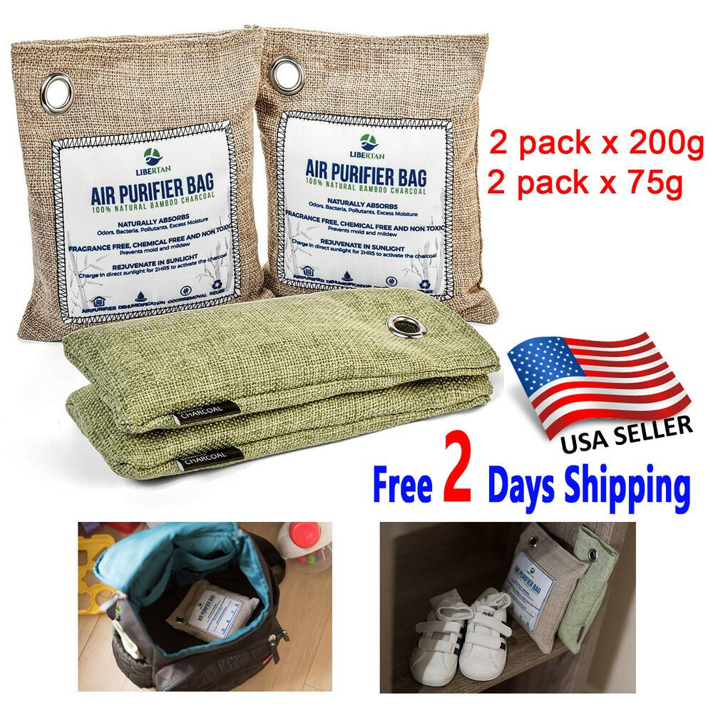 Natural Air Purifying Bags 4 Pack Bamboo Activated