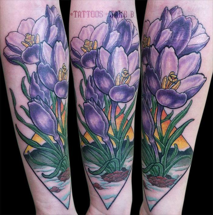 823759ea6 Purple Crocus Flowers arm tattoo Tattoos by Jake B Tattoos by