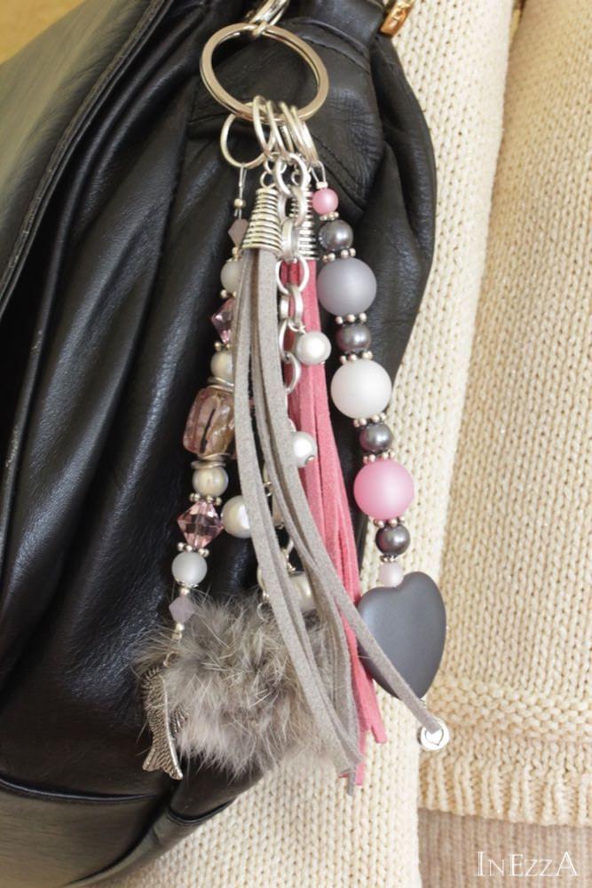 Colgante Taschenbaumler para el bolso en rosa gris claro