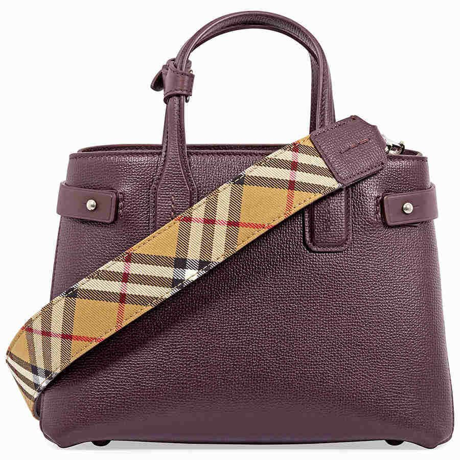 52e0a553cb51 Details about Burberry Small Banner Leather Tote- Mahogany Red ...