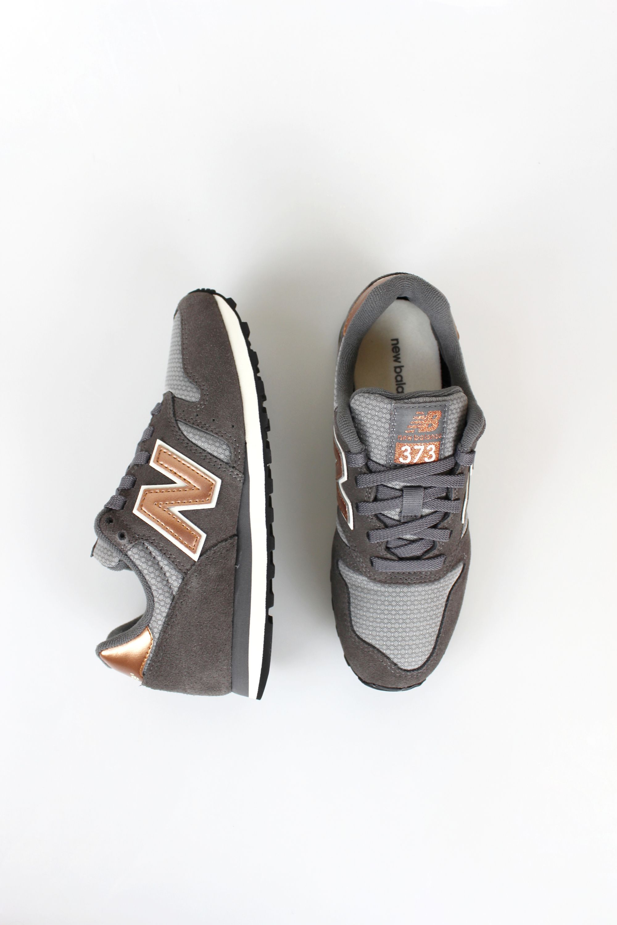New Balance 373 Castlerock/Copper Metallic Leather - Trainers Shoes