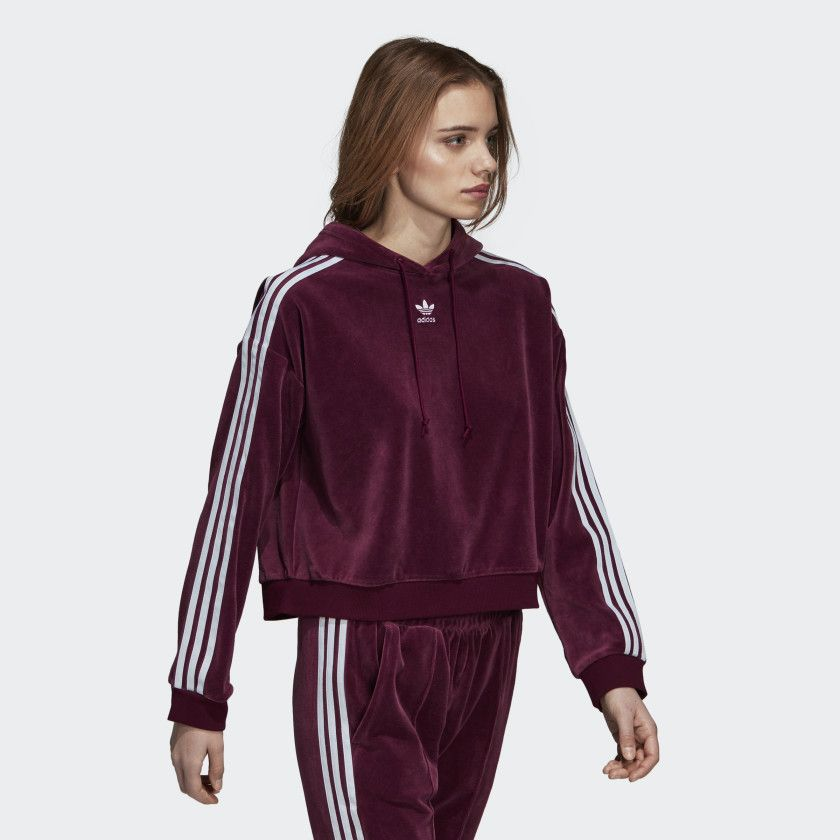 adidas Originals Womens Cropped Hoodie Maroon