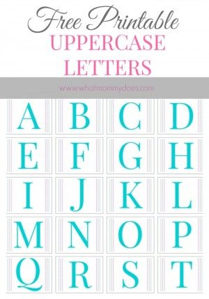 Free Printable Alphabet Letters A To Z Turquoise Baby Shower