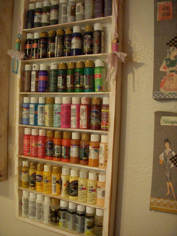 Wall Organizer Paint Room Wood Shelf Craft Art Storage Sewing Room Organizing Wooden Nail