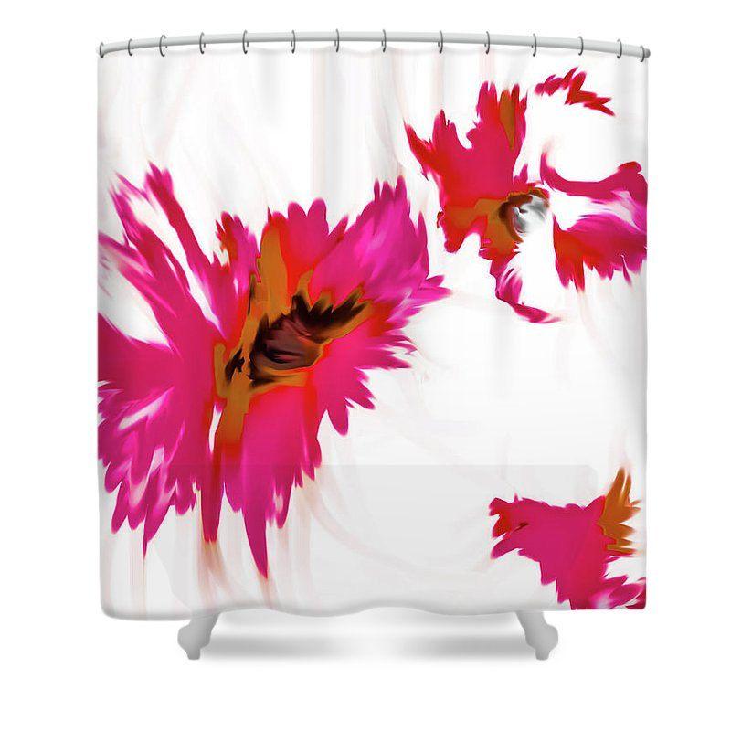 orange floral shower curtain. Pink Floral Shower Curtain Unique Fuchsia Flower Black Orange White  Bathroom Home