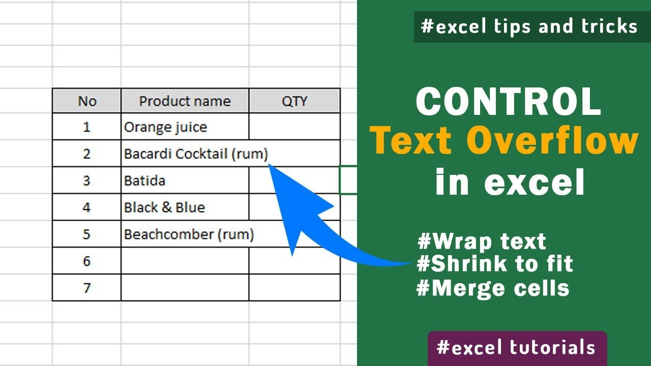How To Manage Overflow Text In Excel Excel Tips And Tricks Excel Tips Bacardi Cocktail