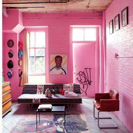 Un loft comme un magasin de design, à Brooklyn | Pink walls, Walls ...