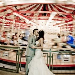 This merry-go-round shot was just one of the many unique elements of this wedding. Photos via Blush Wedding Photography.