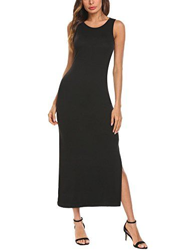 2a04276d4b Tinkwell Women Long Sleeve Crew Neck Solid Casual Side Split Party Evening Maxi  Dress