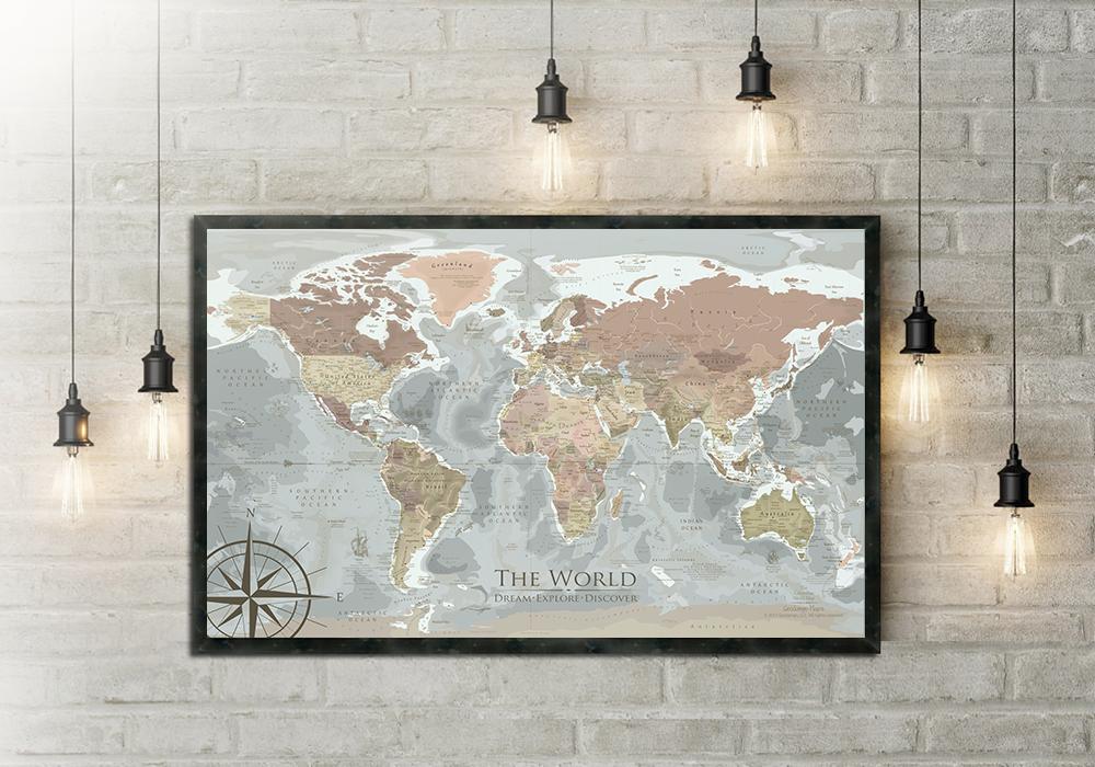 Framed Columbus World Push Pin Map - GeoJango Maps - Grey Edition ...