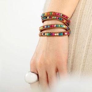 Multi Wrap Bracelets Handmade Adjustable Cord Seed Beaded by okajewelryshow