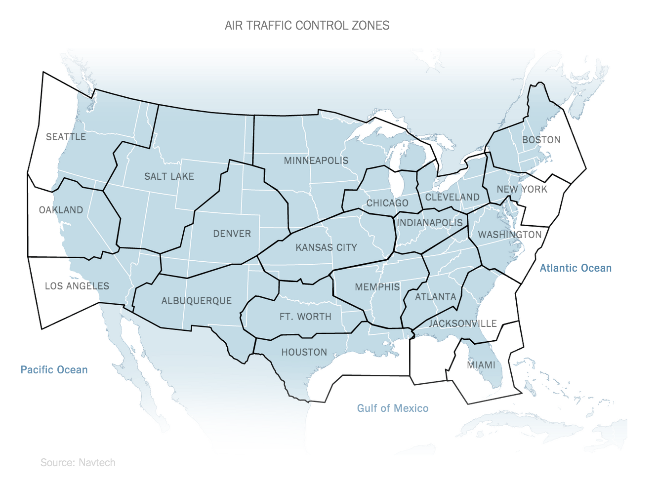 Americas Air Traffic Control Zones Infographics Pinterest - Us air map