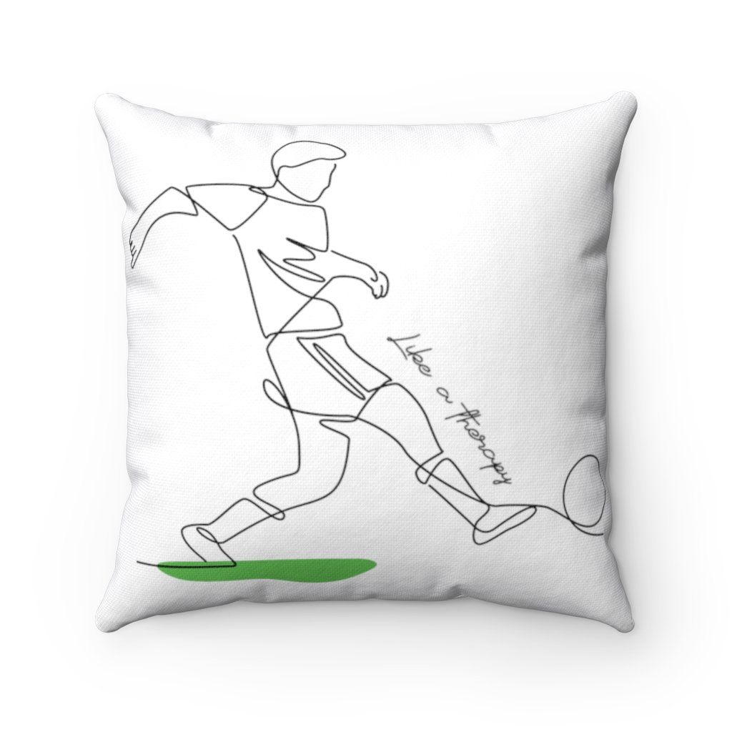 Spun Polyester Square Pillow FOOTBALL/SOCCER Like a therapy – 20 x 20