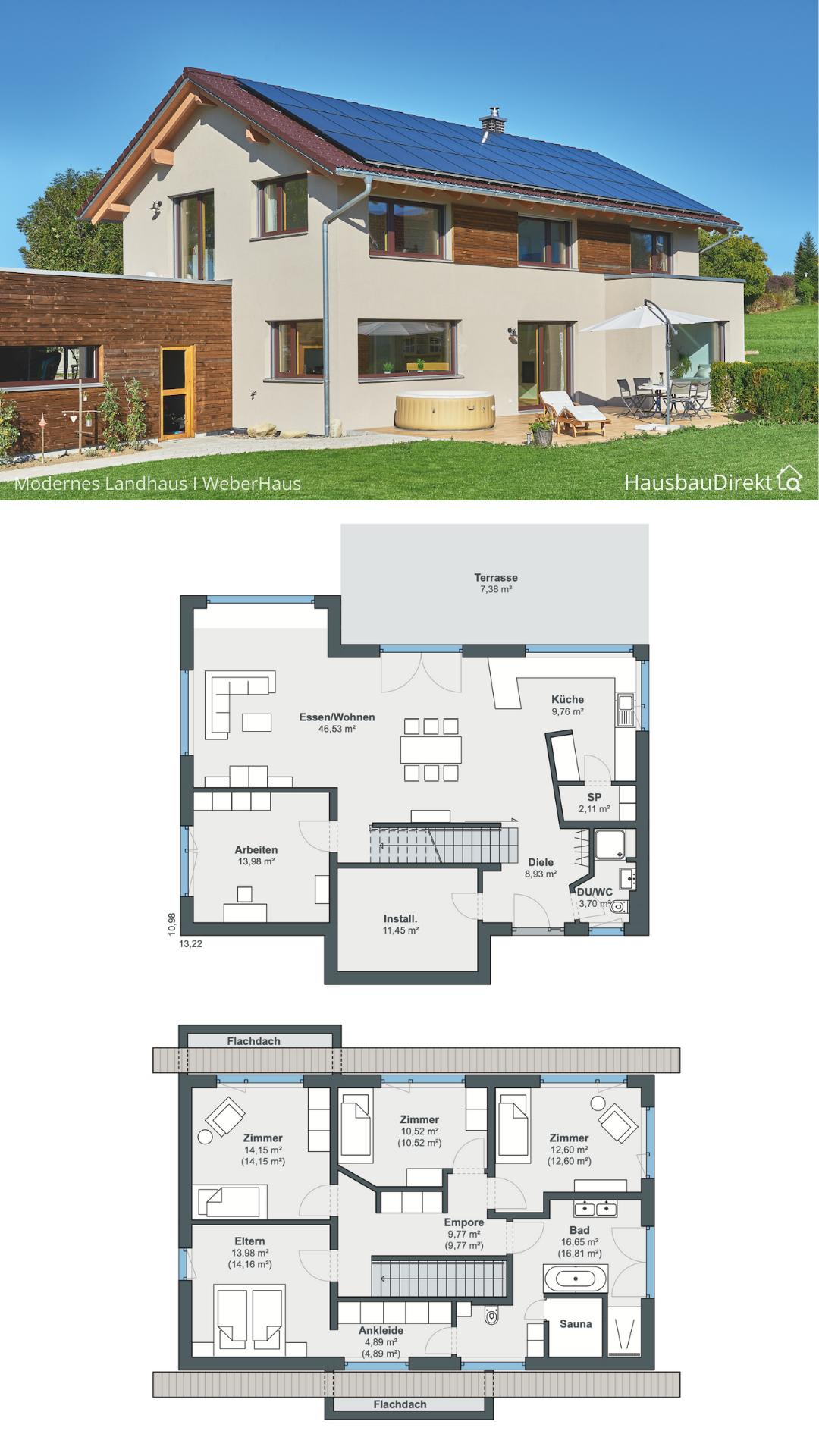 Modernes Einfamilienhaus mit Satteldach & Holz Putz Fassade bauen Haus Grundriss mit gerade Treppe