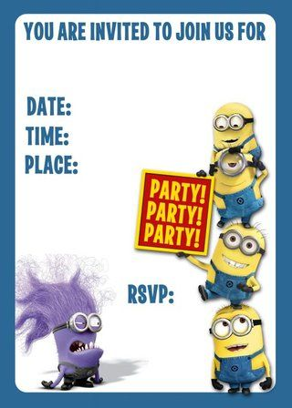 minion birthday invitations minion