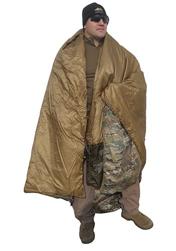 """Cover: Kifaru Woobie & Doobie designed to replace the USGI poncho liner, MUCH warmer and lighter. Great as a sleeping bag liner or ground cloth. Climashield insulation is continuous filament - so strong that no quilting is needed. Plus, it has a better """"feel"""" and draping capabilities - no quilting, so there are no cold spots. Water resistant RhinoSkin Shell, you get immediate warmth and protection. Woobie & Doobie are very compressible due to the state of the art materials used"""