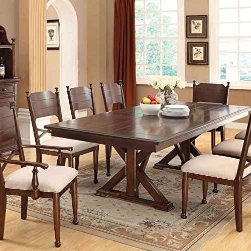 Descanso Old English Style Brown Cherry Finish 7 Piece Dining