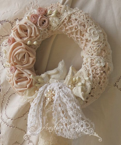 krajkov v nec shabby chic wreaths pinterest kr nze. Black Bedroom Furniture Sets. Home Design Ideas