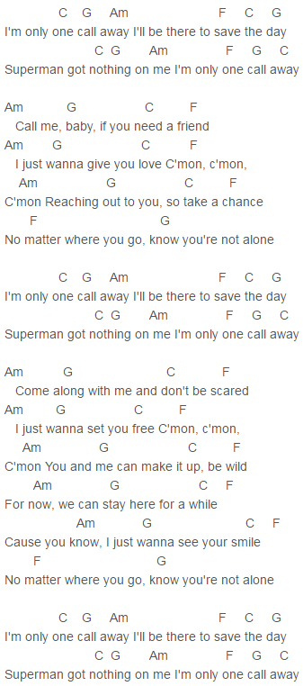 Capo 1 One Call Away Chords Charlie Puth : Charlie Puth : Pinterest