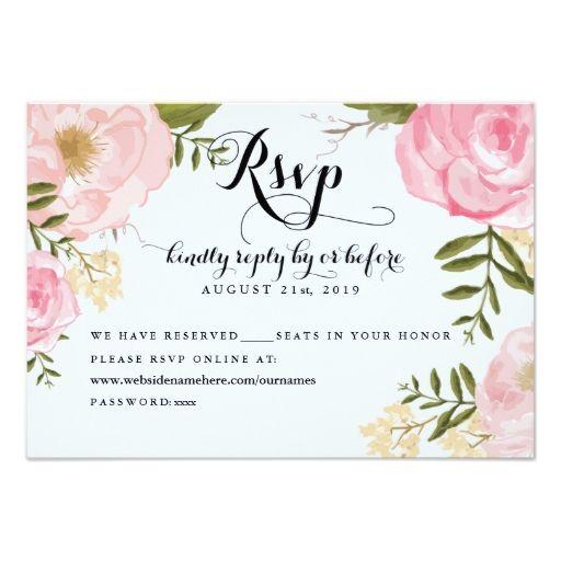 Modern Vintage Pink Floral Wedding Online Rsvp Invites Pink