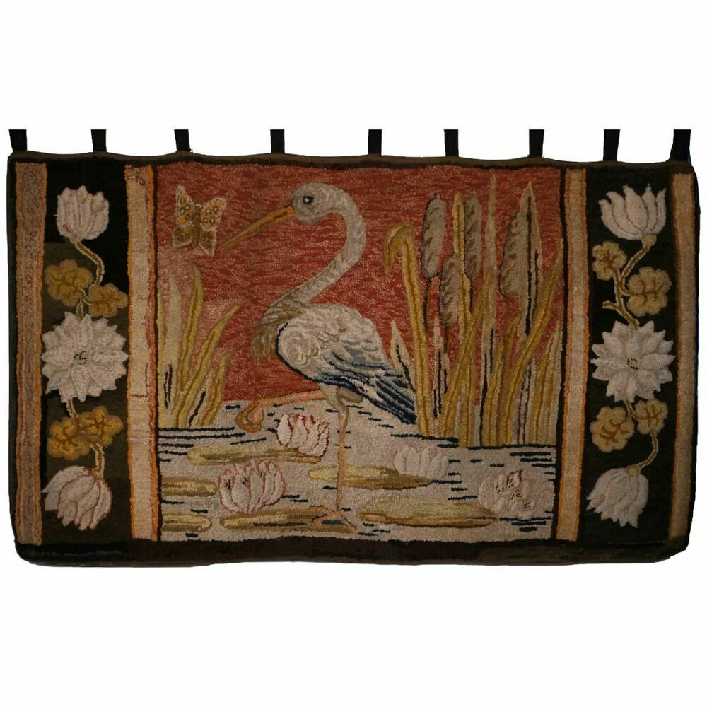Antique Pictorial Hooked Rug Heron Pattern Maine Waldoboro