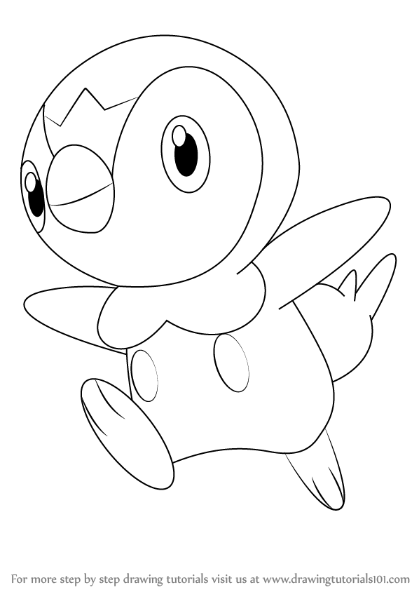 How To Draw Piplup From Pokemon Drawingtutorials101 Com Piplup Drawings Pokemon