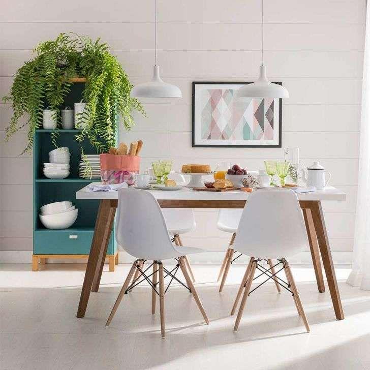 Conjunto Com 4 Cadeiras Eames Eiffel Base Madeira Branco Mesa De