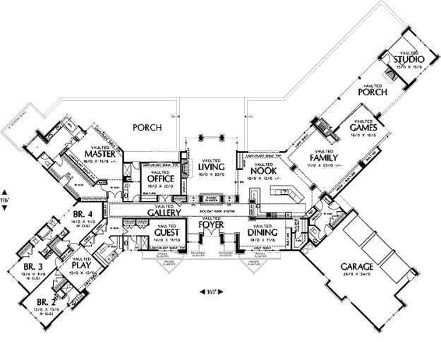 Winged floor plan with everything I need. Someone build me this ...