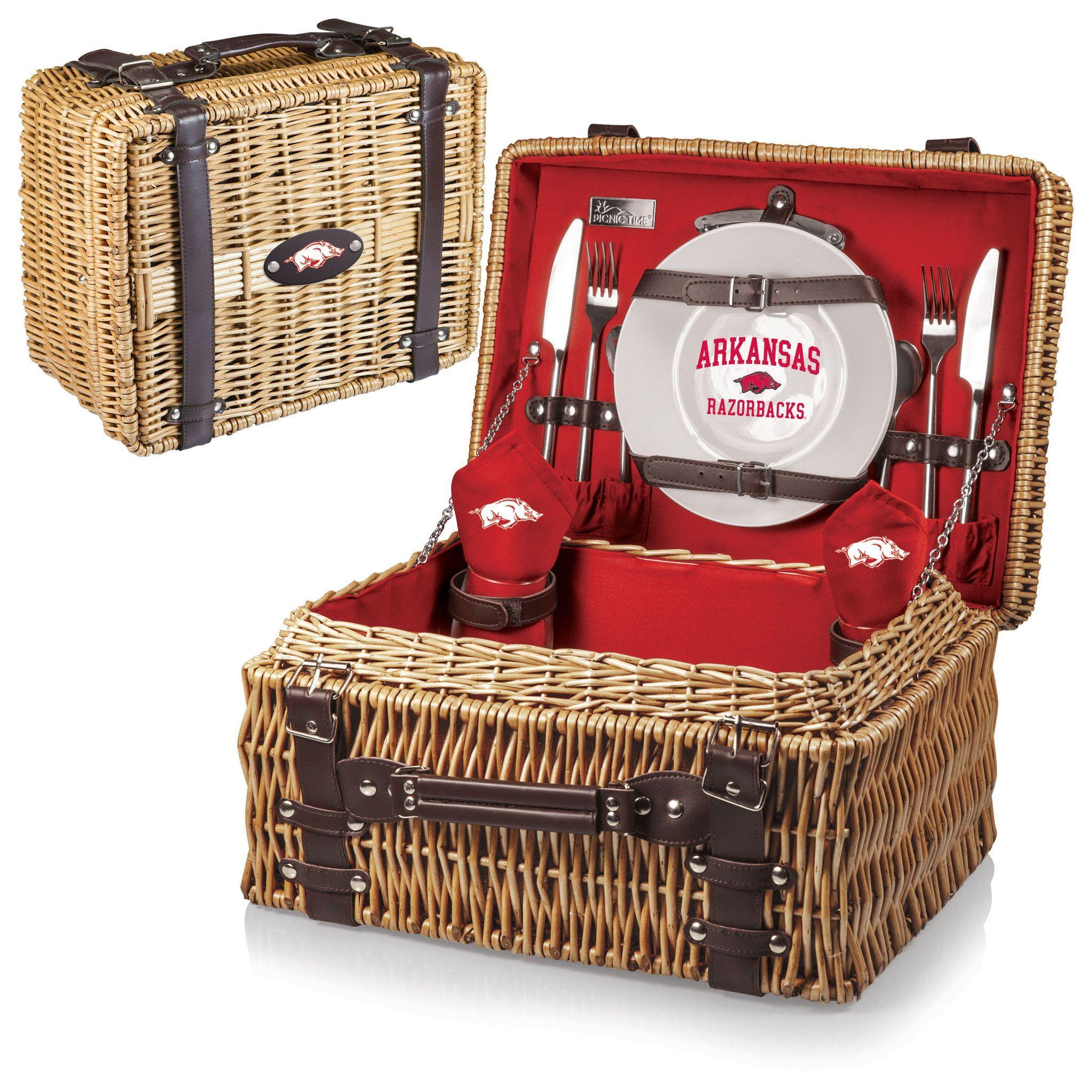Arkansas Razorbacks Picnic Basket With Service For 2 Picnic Basket Picnic Time Hand Blown Wine Glasses