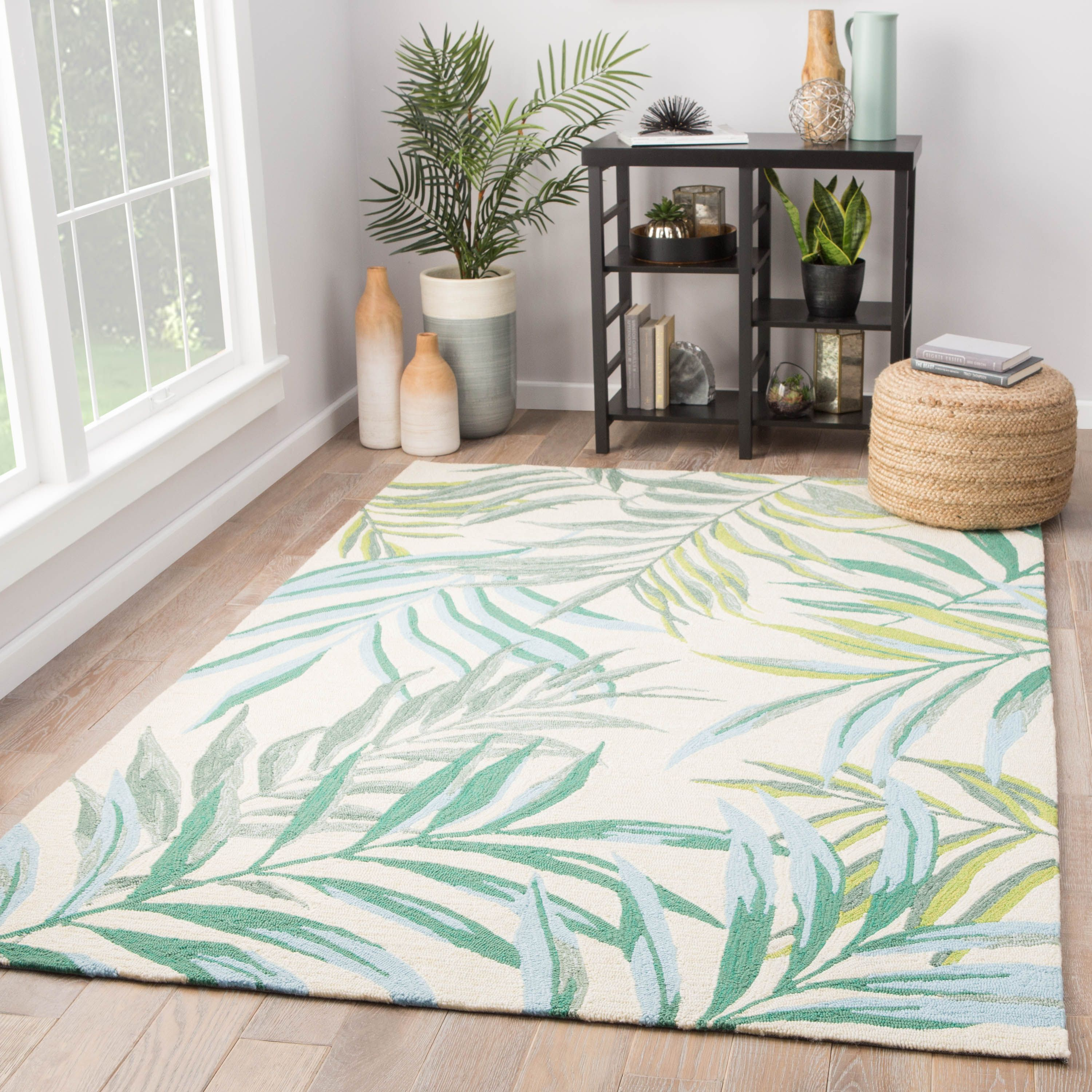 The Catalina Palm Fronds Indoor Outdoor Area Rug Is Designed Showcasing Tropical Blue And Green Botanical Outdoor Area Rugs Indoor Outdoor Area Rugs Area Rugs