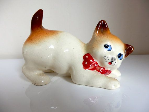 Cute Retro Kitsch Ceramic Cat Figurine by TechnicolourRetro, £7.00