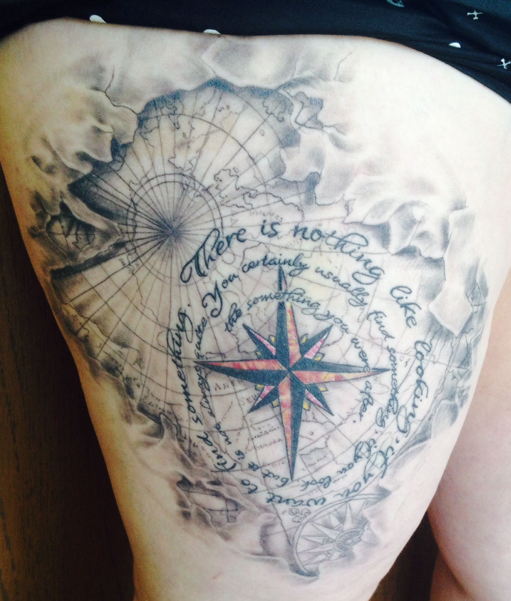 Compass and map tattoo joe garza golden needle tattoo for Renaissance tattoo san clemente