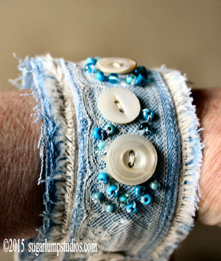 recycled denim made into a cuff bracelet jewelry sugarlumpstudios jewelry pinterest. Black Bedroom Furniture Sets. Home Design Ideas