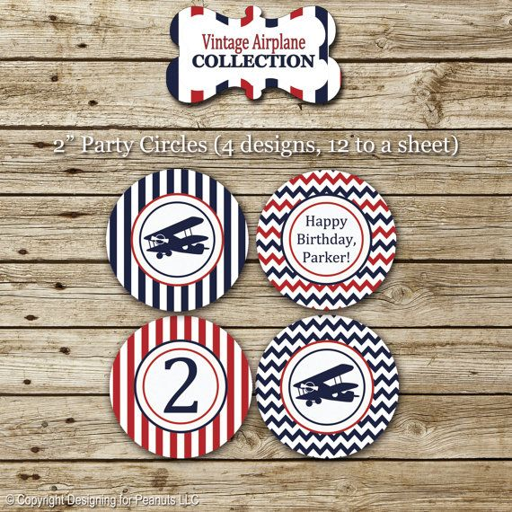 Vintage Airplane Party Printables Airplane Birthday Airplane: Vintage Airplane Party Circles, Cupcake Toppers, Stickers