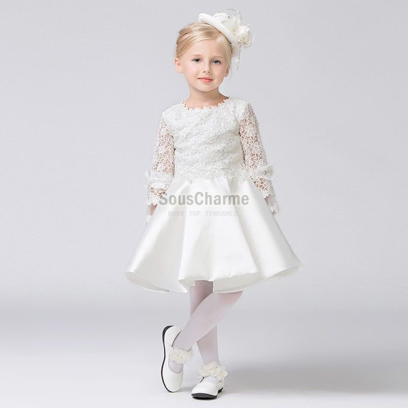 Robe blanche manche longue bebe fille