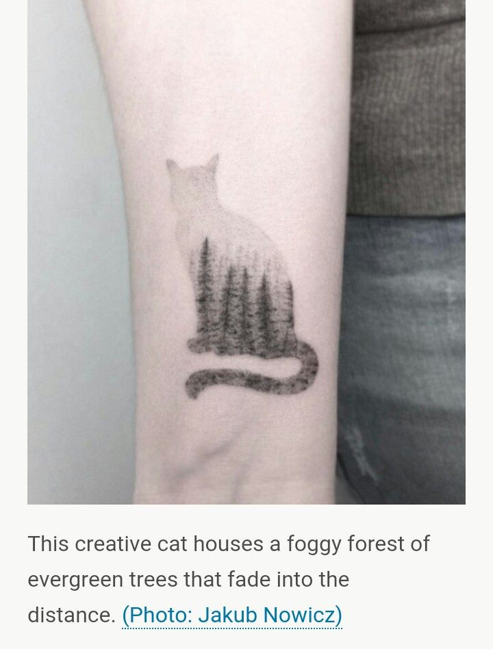 dd1e01e375aa6 pine trees in foggy cat silhouette tattoo | Thoughts on Tattoos ...