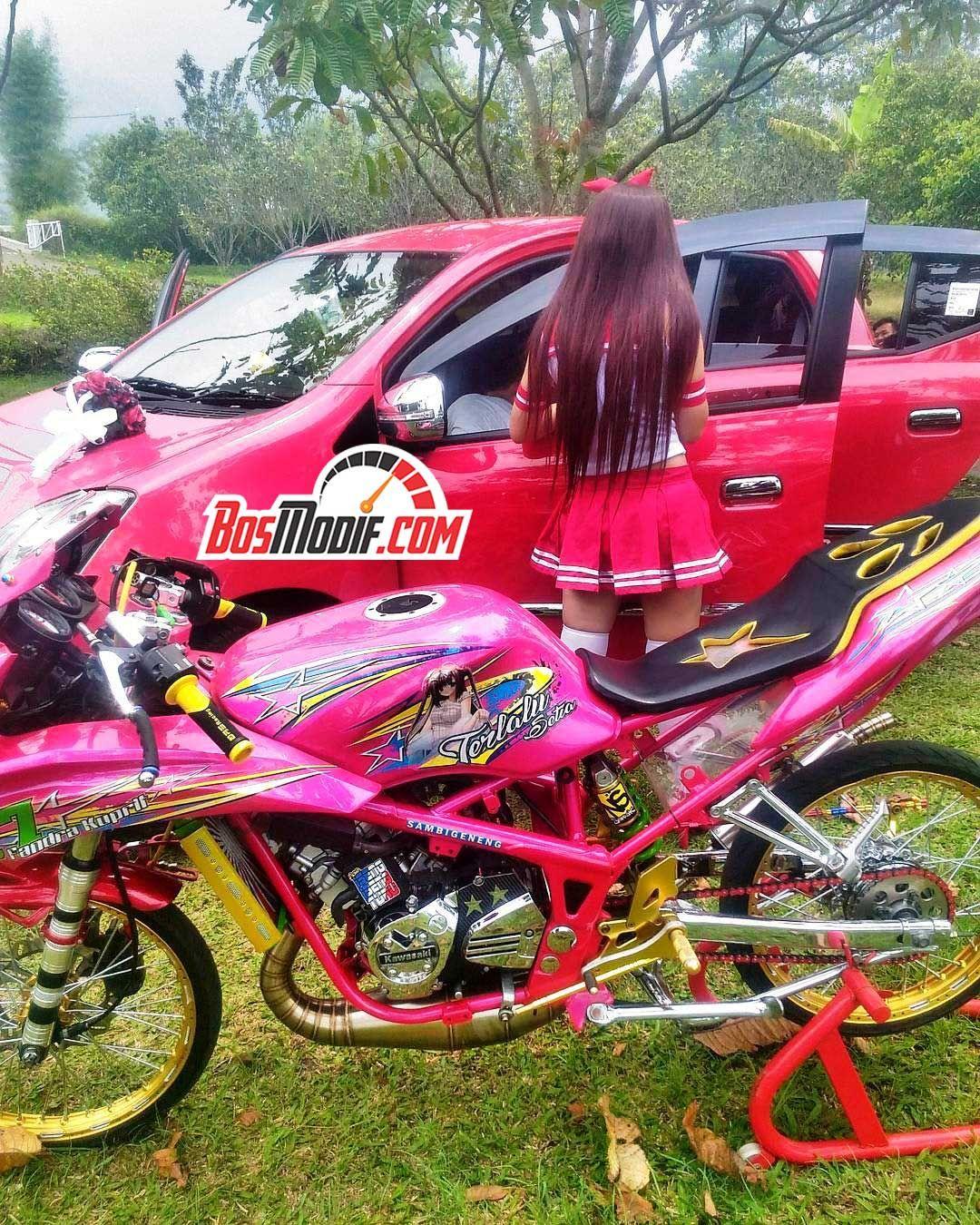 Modifikasi Motor Kawasaki Ninja Dan Cewek Warna Pink Merah Putih 6
