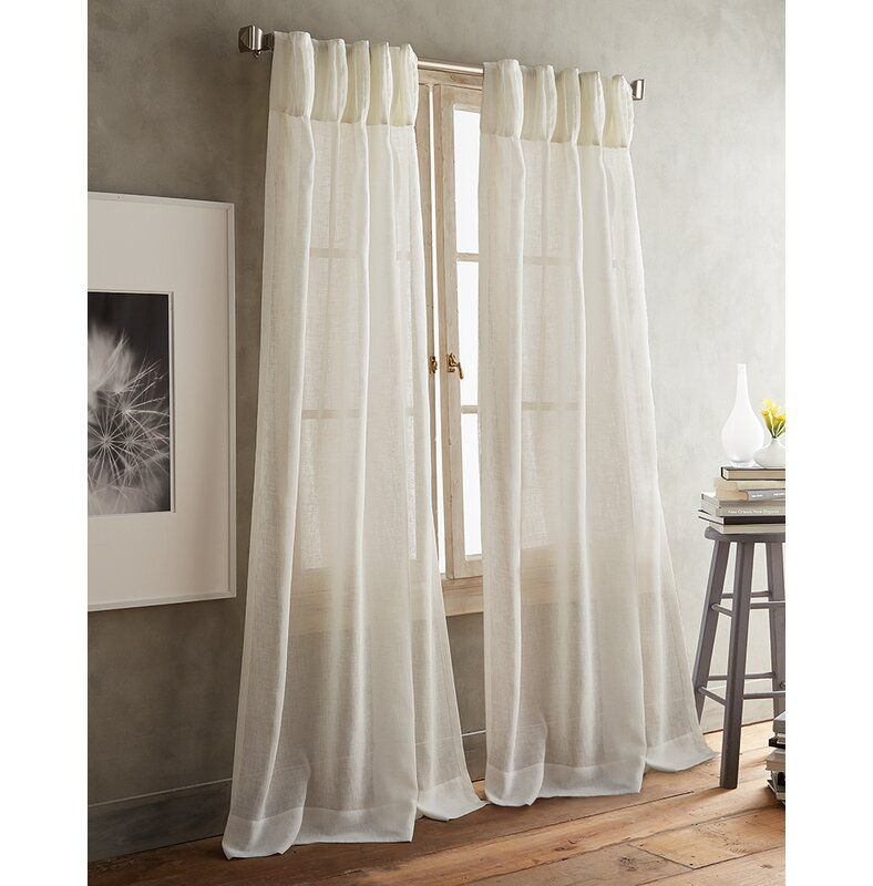 Paradox Pencil Pleat Solid Color Sheer Curtain Panels In 2020